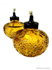 Set 2 Orange Patio Garden Oil Lamps Burners Vintage Style Lights Lanterns