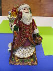 FITZ and FLOYD Ceramic Music Box - Traditional Santa play Deck The Halls - NEW