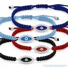Evil Eye Turkish Nazar Greek Hamsa Charm Jewish Sterling Silver Macrame Bracelet