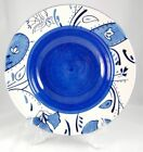 Fitz and Floyd Gourmet AZURE Serving Bowl 12.375 in. Flowers White Blue Leaves