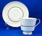 Mikasa HUNTER 112 Footed Cup and Saucer Set 3 in. White Scrolls White Gold Trim
