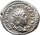 PHILIP I the Arab 247AD Silver Authentic Ancient Roman Coin ROMA i30386