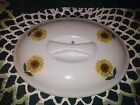 White Cordon Bleu BIA Yellow Sunflower Lid for Oval Covered Casserole Dish