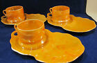 Japan LUSTERWARE 3 set cups / snack plates Fine translucent china Mottled orange