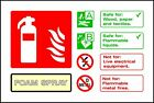 Fire Extinguisher Foam Spray ID sticker warning sign self adhesive vinyl