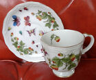 Ardalt Lenwile 6394 Butterflies Strawberries Insects Footed Teacup Cup & Saucer