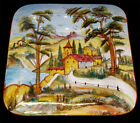 DERUTA ITALY  POTTERY LANDSCAPE PATTERN CHARGER SQUARE PLATTER 16