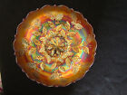 Holly Bowl Amber Scarce Color Old Fenton Carnival Glass