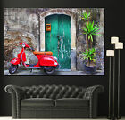 Canvas Wall Fine Art Prints Red Vespa Scooter Moped Colorful Photo Print Decor 2
