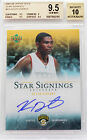 2007-08 Kevin Durant Upper Deck Star Signings Rookie RC Auto BGS 9.5 w 10 POP 5