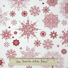 Studio E Christmas Fabric - Winter Essentials Red Snowflake Toss on Beige 23