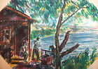 Impressionist vintage landscape mountain hut  pastel drawing
