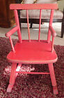 Vintage Child Rocking Chair Painted Red Distressed Plant Stand Bear Doll