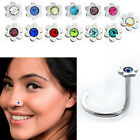 1 6PC Steel Nose Screw w Flower Top Colored Floral Crystal for Pierced Nostrils