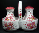 Hand Painted Italian Salt & Pepper Shakers Mauve & White Floral Pattern Firenze