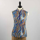 WOMENS TOP ANIMAL PRINT MULTI COLORED BROWNS BLUES GREENS WITH BLACK