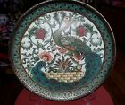 Vintge Chinese Hand make Decorated Ceramic Teal Gold Peacock Big Plate 10x10inc