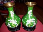 Vintge Hand Made China Cloisonne Bronze Enamel Pair of Vases Feer wood  Stand