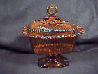 INDIANA AMBER GLASS PEDESTAL CANDY DISH LACE EDGE, LACED EDGE