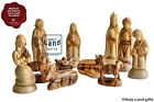 OLIVE WOOD NATIVITY SET 11 PCS MADE BY THE BEST CRAFTSMEN OF BETHLEHEM HOLY LAND