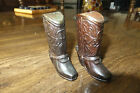 Vintage Copper Cowboy Boots Salt Pepper Shakers California Made in Japan