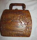 vintage 50's hand carved wooden duck design box style very unique hand bag L@@K