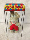 Vintage ~ Winky BUNNY RABBIT Animal Swing Circus Style WIND-UP TIN TOY