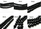 3MM 4MM 6MM 8MM 10MM 12MM Glass Pearl Czech Round Loose Jewelry Beads black