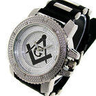 MEN'S ICE NATION SILVER ICED OUT FREEMASON MASONIC MASON WATCH WITH BULLET BAND