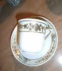 Beautiful Heavy Gold Gilt Nippon Hand Painted Cup & Saucer, Green Crown Stamp