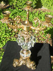 NR VINTAGE LARGE GIRANDOLE CANDELABRA 3 ARMS BEAUTIFUL FACETED BASE AND PRISMS