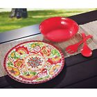 100% Melamine 4 piece Serveware Set BPA Free red or blue indoor outdoor use new
