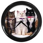 Five Kitty Cats In A Row Wall Clock with Black Lucite Frame