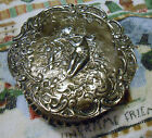 Big Antique 800 Silver Trinket Box Hand Chased Repousse Cherubs at Play, Germany