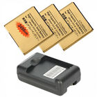 3X 2450MAH Gold Battery + Charger for HTC Sensation 4G G14 G18 G21 XL EVO 3D