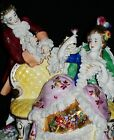 Antique German DRESDEN LACE VOLKSTEDT COURTING COUPLE GROUP Porcelain Figurine