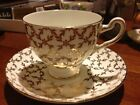 Queens Royal Bone China Tea Cup and Saucer -Gold Leaves And Holly - Vintage