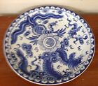 Blue Pottery Ceramic Chinese Japanese Charger Platter Plate Dragon Large 14