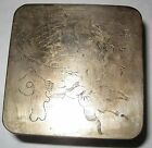 Antique Asian Japanese Inkwell Box Marked KYOTO Fu Dog White Metal 19th Century