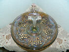 Vintage Imperial Carnival Glass Vine And Grape Iridescent Serving Dish W/ Handle