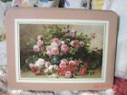 VTG SHABBY FRENCH COUNTRY COTTAGE CHIC ROSES CORK BACK PICTURE SNACK TRAY SET 6