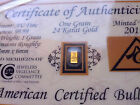 Vertical - FINE Gold 99.99 Pure 1GRAIN Bullion Bar with Certificate Authenticity