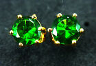 Stunning pair of thailand 14k gold green gemstone earrings