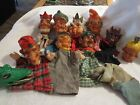 11 Punch & Judy-Hand puppets-Vtg.-Cloth body,Rubber heads, Devil, Dog & More...