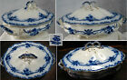 ANTQ FLOW BLUE JOHNSON BROS OXFORD OVAL SOUP TUREEN ,ENGLAND,6 CUPS