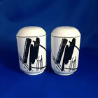 Sango Calligraphy Salt Pepper Shakers Larry Laslo Collection 1986 Square 2 pc