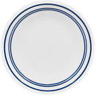2 NICE CORELLE BLUE~CLASSIC CAFE~DINNER PLATES BANDS RINGS CORNING WARE *MINT*