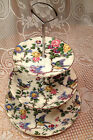 BIRD CHINTZ MIDWINTER 3 TIER CAKE SERVER - 1940S LORNA DOONE