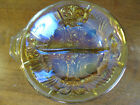 Vintage Marigold Carnival Glass Divided Bowl w/ Small Handle Really Nice! EUC
