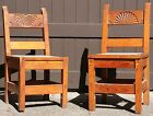 Vintage New Mexico 1930's-1940's WPA Era Two Hand Carved Pine Side Chairs
